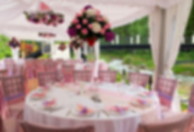 Pink wedding tables in outdoor restauran