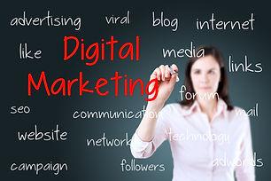 Business woman writing digital marketing