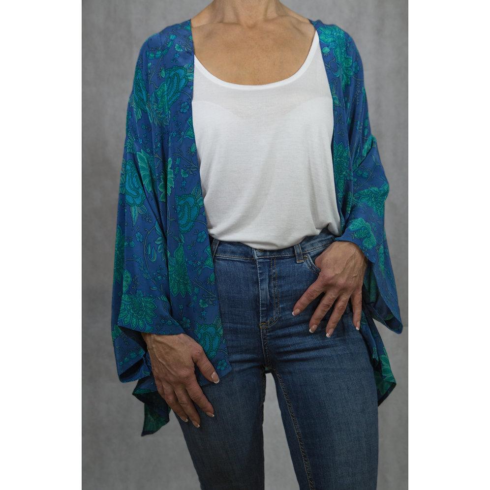 Blue Italian Silk Kimono