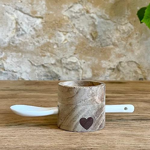 Coquetier en bois et porcelaine