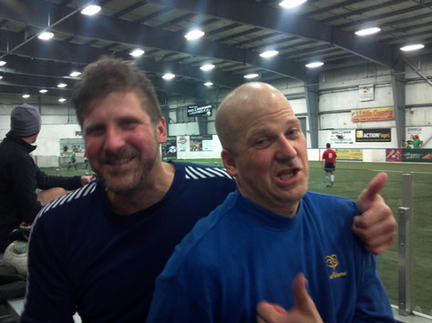 Kicking it after an indoor soccer game in Bellingham, WA. Good and sweaty.