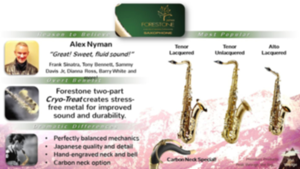 Forestone Saxophones from Japan at The Wedge Distribution.