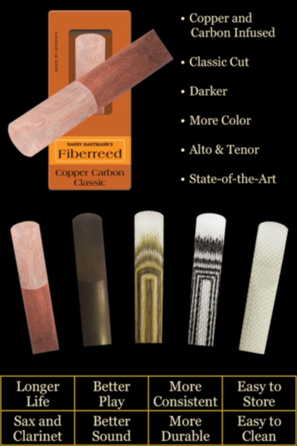 Slide - Copper Carbon on box with 5 reed