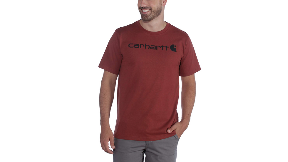 Workwear: Vinrød trøye med sort logo.