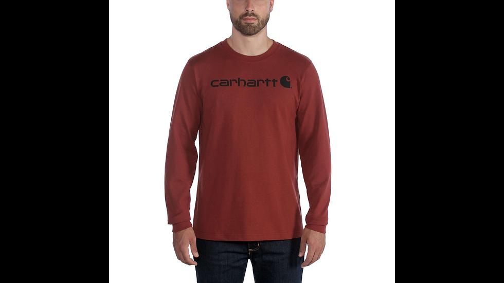 Workwear: Vinrød langermet trøye med logo.