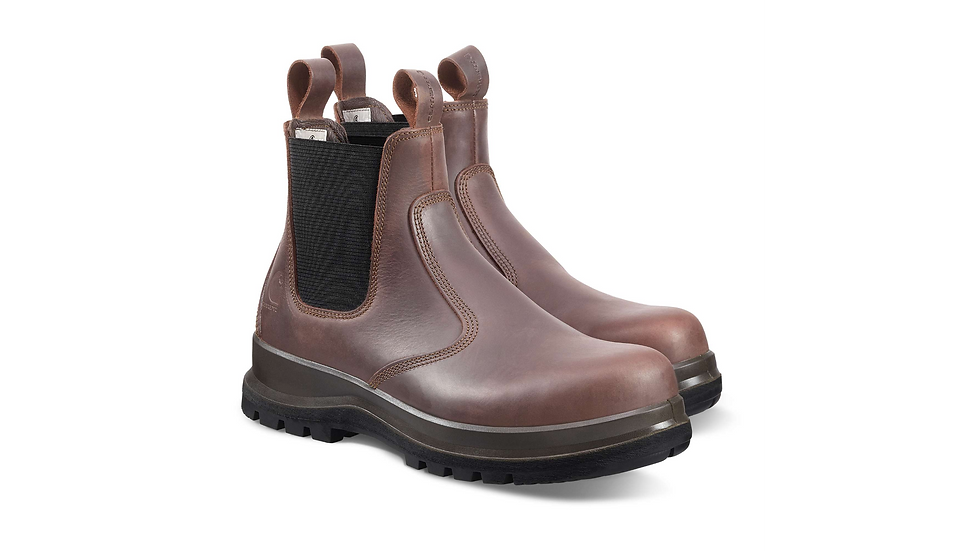 Workwear: Høye brune skinnsko i to ulike nyanser.