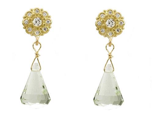 18k & Diamond Mini Beady Blossom Earrings with Gemstone Drops