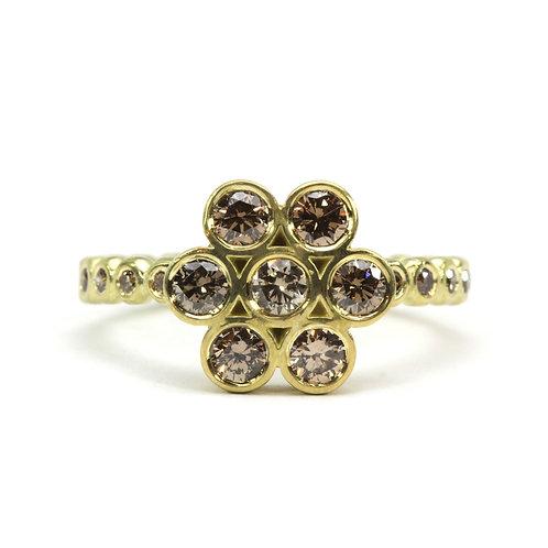 18k Lotus Ring with Diamonds