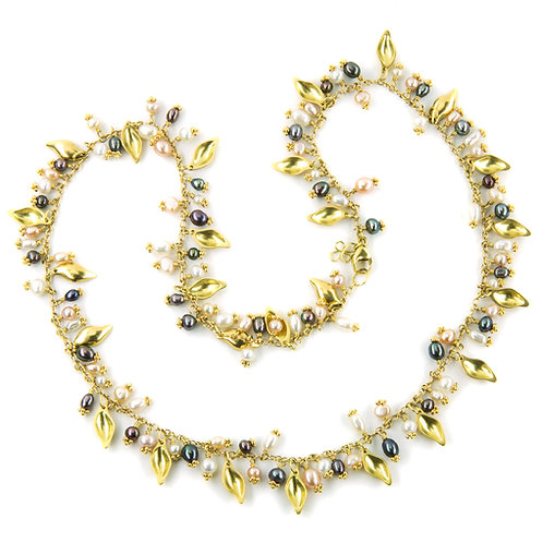 18k Leaf Garland Neckace with Gemstones