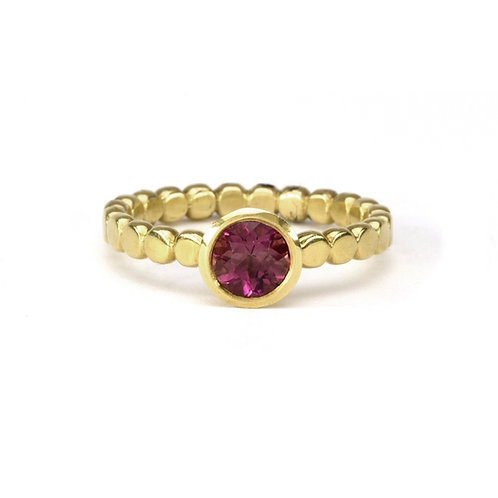 18k Bubble Band with Pink Tourmaline