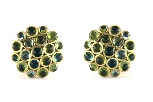 18k Lotus Earrings with Cabochon Gemstones