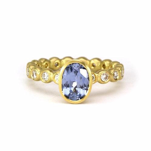 18k & Diamond Big Bubble Band with Sapphire