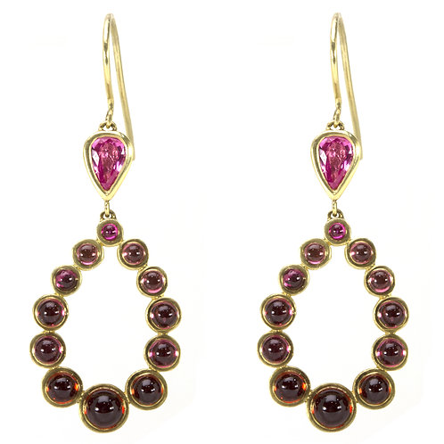 14k Teardrop and Wreath Earrings with Gemstones