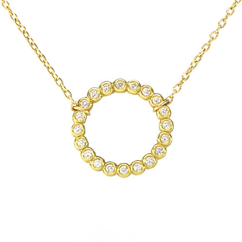 18k Bubble Circle Necklace with Gemstones