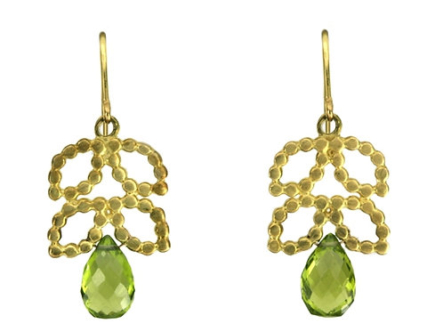 18k Beady Vine Earrings with Gemstone Drops