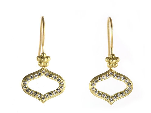18k Small Fez Earrings with Diamonds