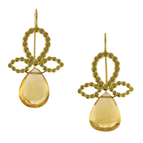 18k Bubble Fleur de Lys Earrings with Gemstone Drops