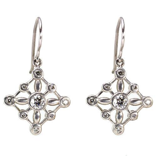 18k Oval Beady Earrings with Diamonds