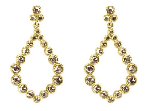 18k & Champagne Diamond Teardrop Wreath Earrings