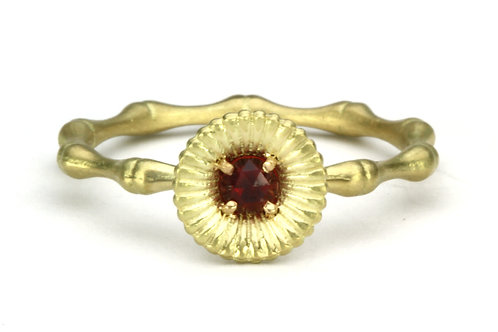 18k & Ruby Bamboo and Lilypad Ring