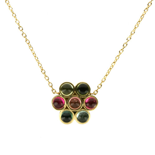 18k Small Lotus Necklace with Cabochon Tourmaline