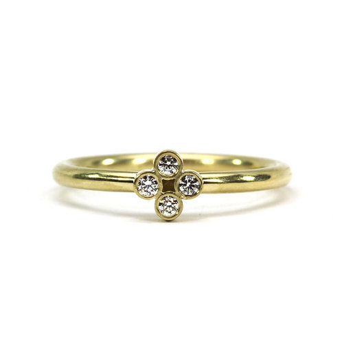 18k Single Clover Ring with Diamonds
