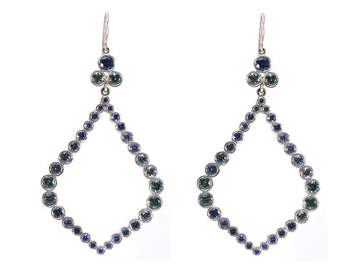 18k Large Wreath Earrings with Green-Blue Sapphires