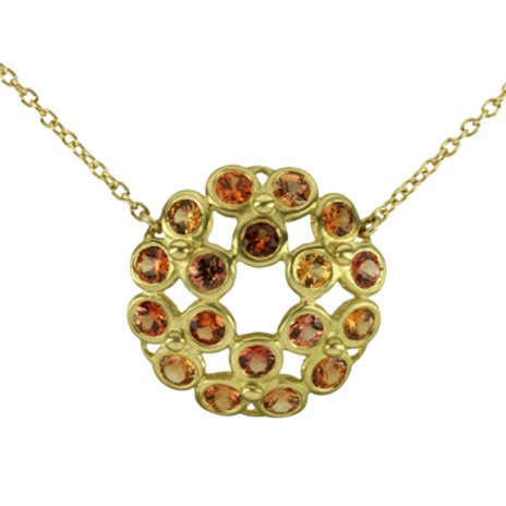 18k Etruscan Rose Window Necklace with Gemstones