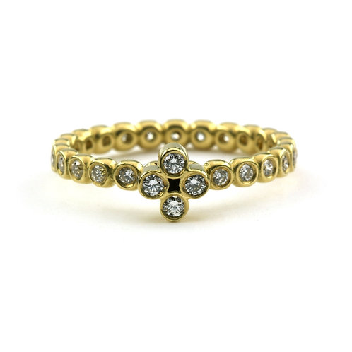 18k Single Clover Ring with Diamonds on a Diamond Bubble Band