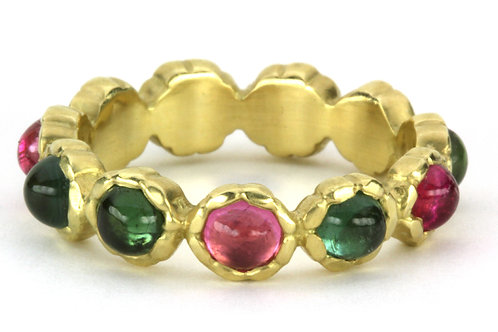 18k Basket of Muffins Band with Gemstones