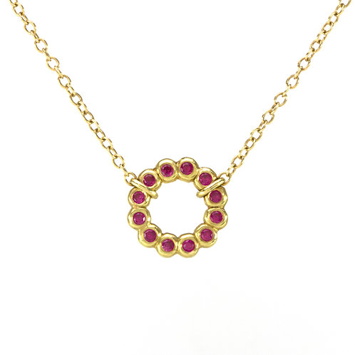 18k Mini Bubble Circle Necklace with Gemstones