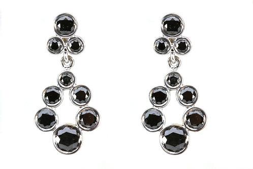 18k Mini Teardrop Wreath Earrings with Black Diamond