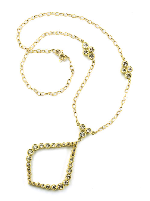 18k and Champagne Diamond Teardrop Wreath Necklace