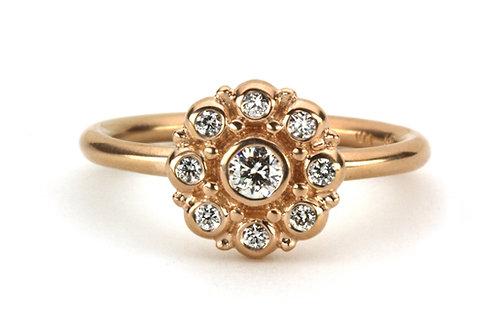 18k & Diamond Beady Blossom Ring