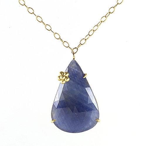 18k Sapphire Slice Fleurish Neckalce