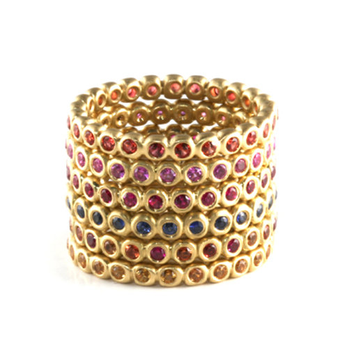 18k Bubble Band with Sapphires