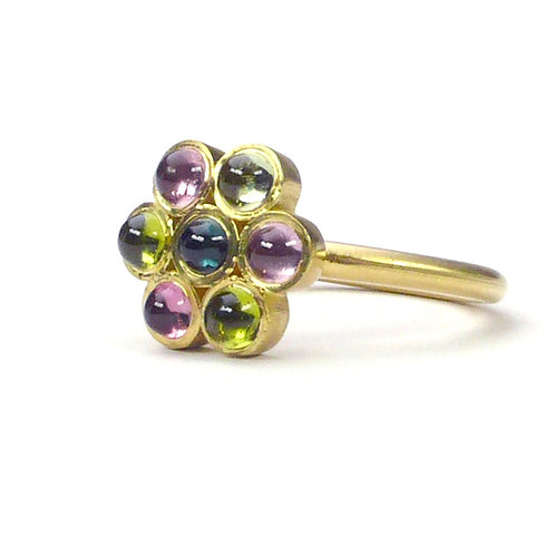 18k Small Lotus Ring with Cabochon Stones