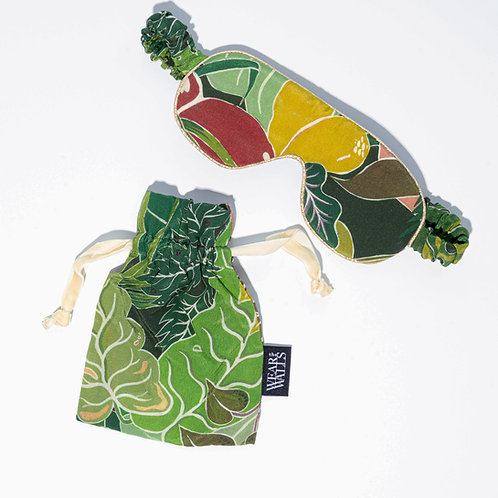 Silk Sleep Mask in Serendipity Jungle-Green