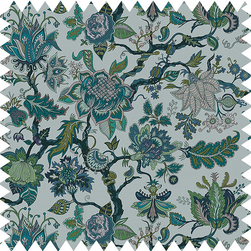 Cotton-Linen Fabric Sample in Eden Topaz