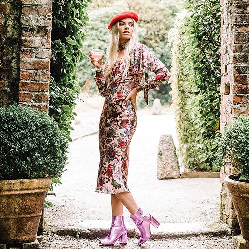 Annabel Midi Skirt in Eden Rose-Pink