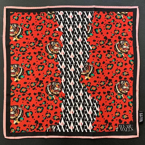 Bubastis Silk Scarf in Ruby-Red