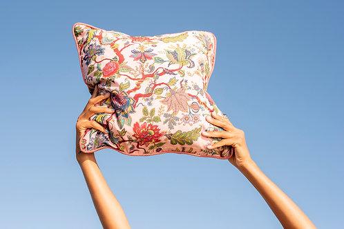 Medium Silk Cushion in Eden Rose-Pink