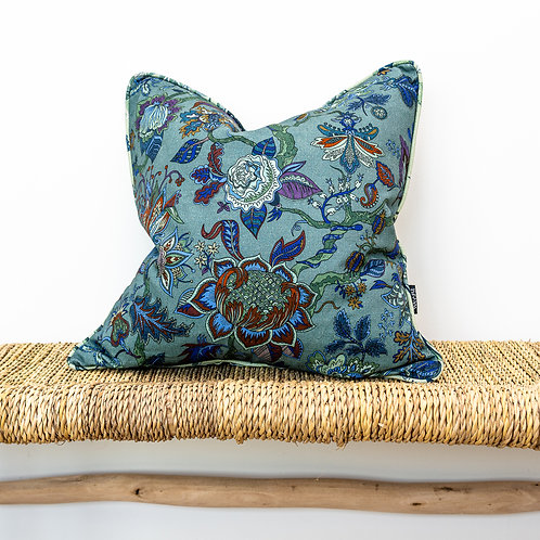 Medium Reversible Linen Cushion in Eden & Ophelia