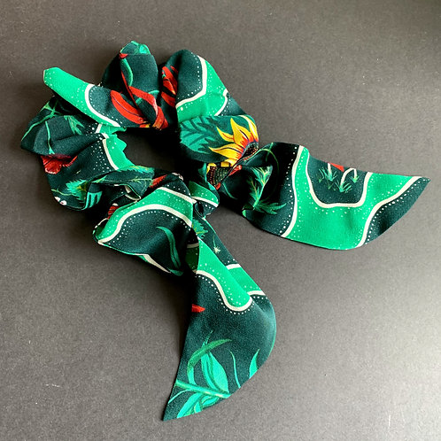 Flora Scrunchie in Halcyon in Halcyon Emerald-Green