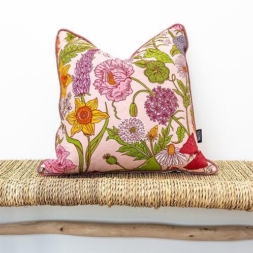Medium Reversible Linen Cushion in Bloom & Sonder