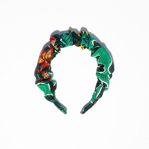 Sienna Scrunchie Hair-band in Halcyon Emerald-Green