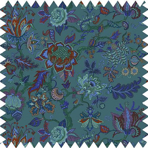 Cotton-Linen Fabric Sample in Eden Lagoon-Blue A5