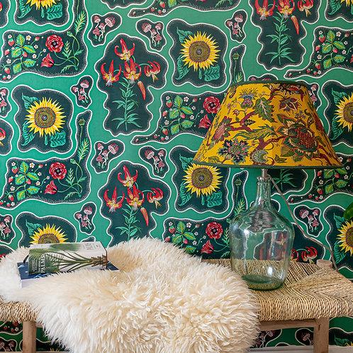 Halcyon Wallpaper in Emerald-Green