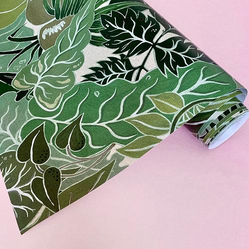 Serendipity Wallpaper in Jade-Green