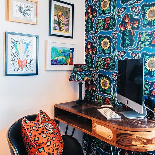 Halcyon Wallpaper in Periwinkle-Blue